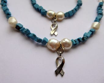 1 Turquoise Mental Health Awareness Bracelet, Addiction Recovery, Awareness Ribbon, Freshwater Pearl.