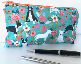 English Bull Terrier pencil case. Bull Terrier. Accessories case. Dog gift. Purse. Coin.