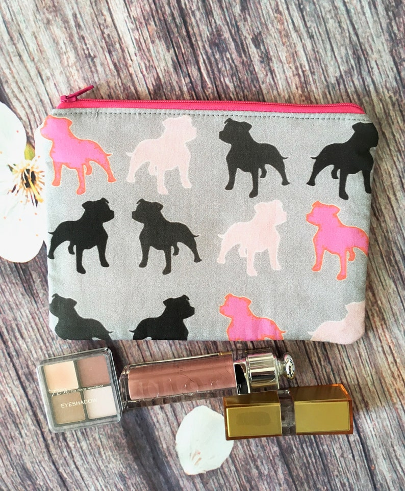 a0df99427ad4 Staffordshire bull terrier makeup bag. Cosmetics bag. Staffie. Staffy.  Mother's Day.Make up bag. Zipper pouch. Wallet. Dog gift.