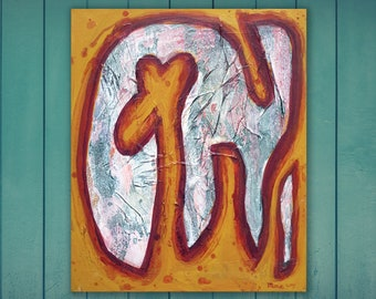 Original abstract painting on canvas, acrylic painting for wall decoration