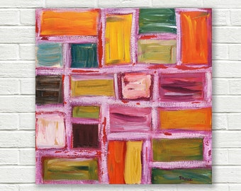 Geometric painting, pink painting, original abstract painting, acrylic on canvas, canvas art, Square painting, 16x16
