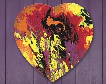 Heart shaped painting, fluid painting, original abstract painting on canvas, fluid acrylic painting, small painting