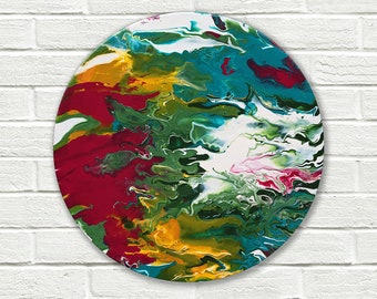 Original abstract painting on canvas, round painting, original painting, small painting, Abstract Wall Art, fluid painting, round wall art