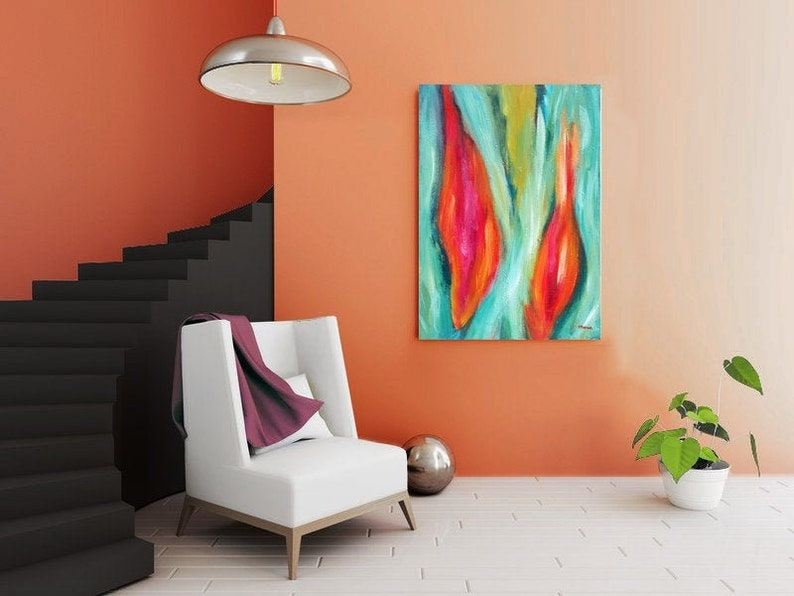 Abstract painting on canvas Wall Art Modern Art vertical image 0