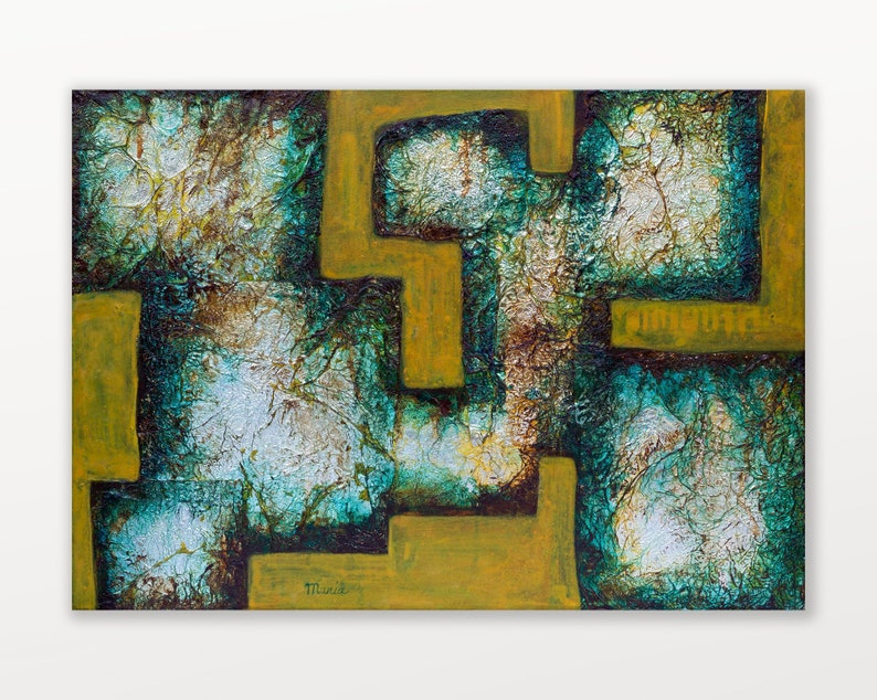 Abstract mixed media painting on canvas Modern geometric image 0