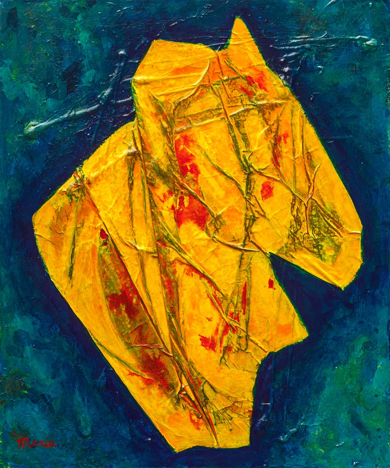 Abstract mixed media painting on canvas textured abstract image 0
