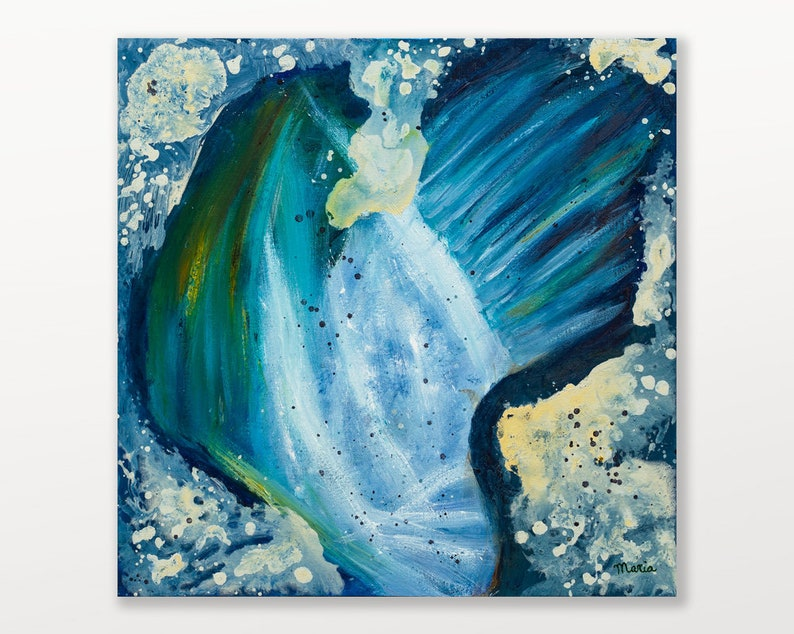 Abstract blue original abstract oil painting on canvas image 0
