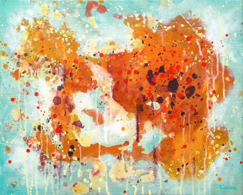 Abstract painting in teal and brown on canvas original image 0