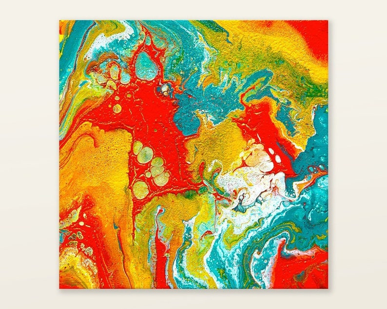 Fluid art on canvas small painting colorful Abstract Wall image 0