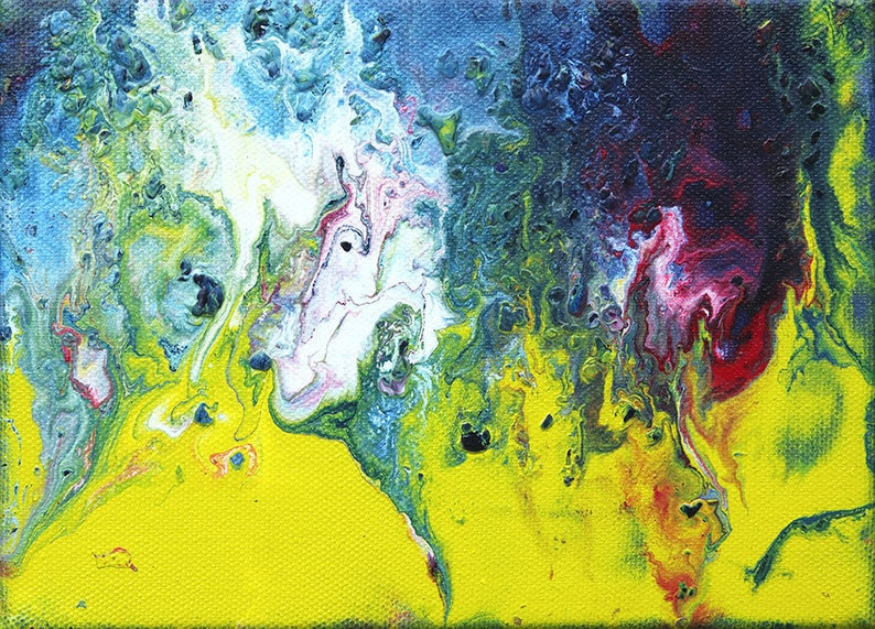 Small fluid art painting original abstract acrylic pour art image 0