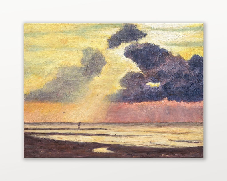 Beach painting original beach art in oil on small canvas image 0