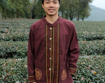 Thai clothes,long sleeve shirt for men and Handmade cotton, Chiang Mai Style.