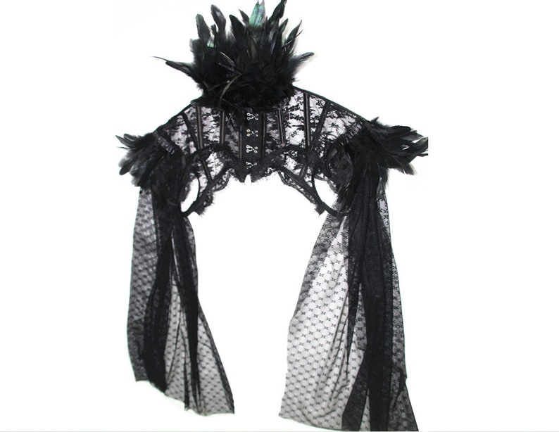 Gothic Fish Bone Cosplay Costume Cape Shoulder Feathers