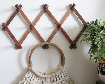 Vintage Wooden Accordion Peg Rack - Multiple Styles