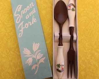 Vintage Florida Flamingo Spoon and Fork in Box