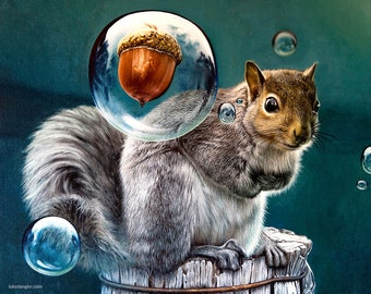 Squirrel Nut Bubble Fine Art Print - oil painting, nature, nut, funny, acorn, surreal