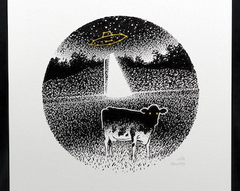 UFO Cow Print - MooFO Constellation - Astronomy Gifts Science Fiction Prints Cow Gifts
