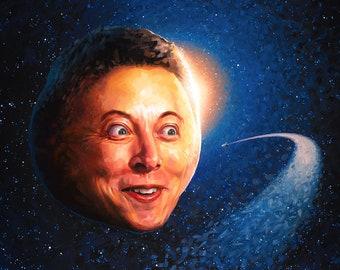 Elon Musk Mars Planet Print - Elon Musk Painting Cryptocurrency Cubicle Decor