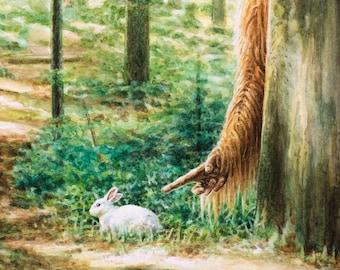 Sasquatch Bunny Watercolor Print - Cryptozoology Weird Home Decor Bigfoot Painting