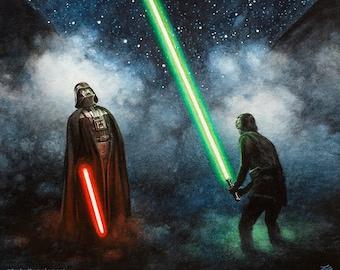 Star Wars Watercolor Parody Print - Luke Lightsaber Star Wars Office Darth Vader Decor
