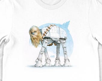 """Chewbacca Star Wars T-Shirt """"Chewalkka"""" - imperial walker, funny, chewie, painting"""