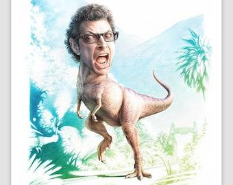 Jeff Goldblum Dino Watercolor Print - Jurassic Park Parody Weird Gifts Cubicle Decor Weird Stuff