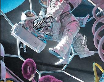 Astronaughty - fine art print - astronaut art