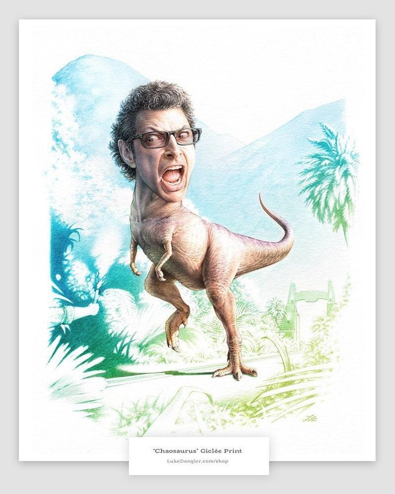 Jeff Goldblum Dino Watercolor Print  Jurassic Park Parody image 0