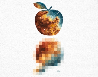 Pixelated Apple Painting Print - Surreal Astronomy Gifts Space Artwork