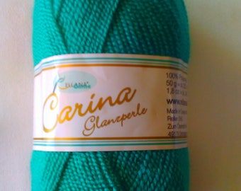 Carina Gloss Pearl 1 Package=10 Knäul =500 gr. Color Green-Emerald 13 for knitting and crocheting