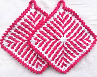 Pot rags , crocheted, handmade 1 pair of pink-white 1 pair colored striped 19 x 19 cm