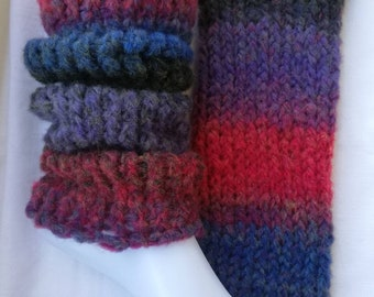 Leg stings 1 pair 40 cm Hand-made knitted colorful striped poly-acrylic + wool
