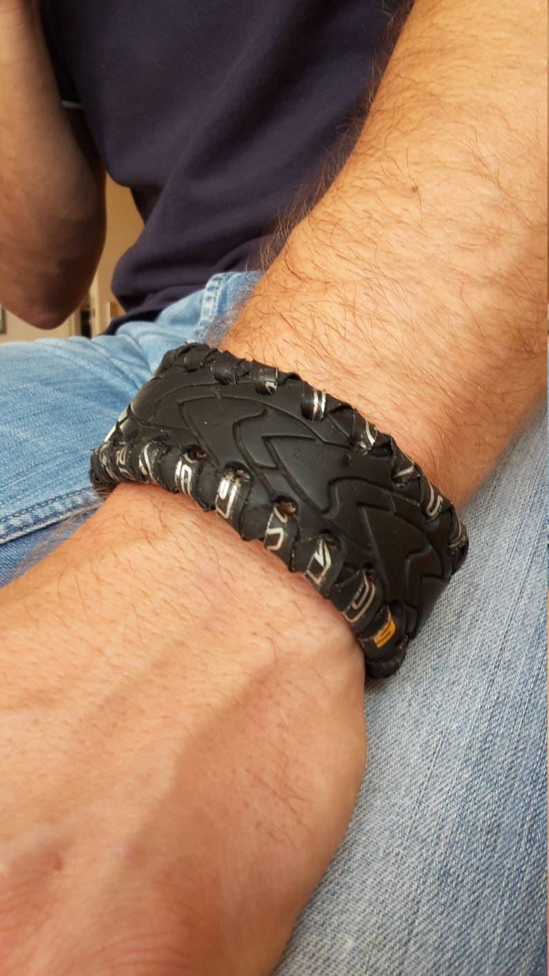 Peter Pitstop-Upcyclede bracelet of bicycle tire image 0