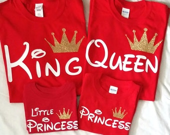 1e80779bbb Disney King Queen Prince Princess Shirts with Crown Mommy Daddy Family Matching  Shirts, Couples Outfit (Price per Tshirt)