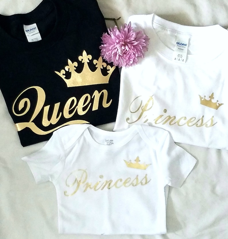 1cdb955469 Gold King Queen Princess Shirt Family Outfit couples tshirts | Etsy