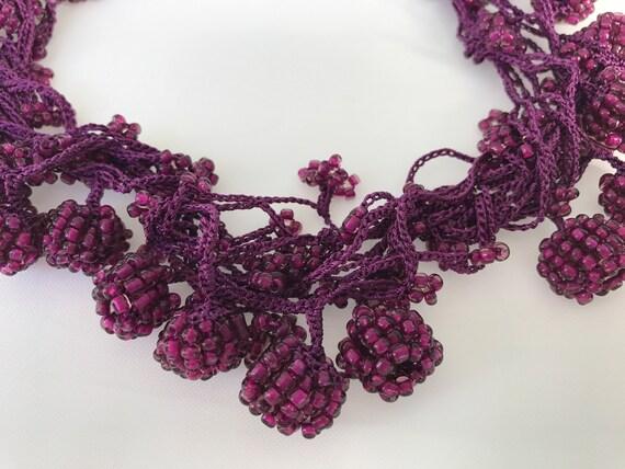 Perlen Boho Häkeln Halskette Häkeln Anhänger Rocailles Etsy