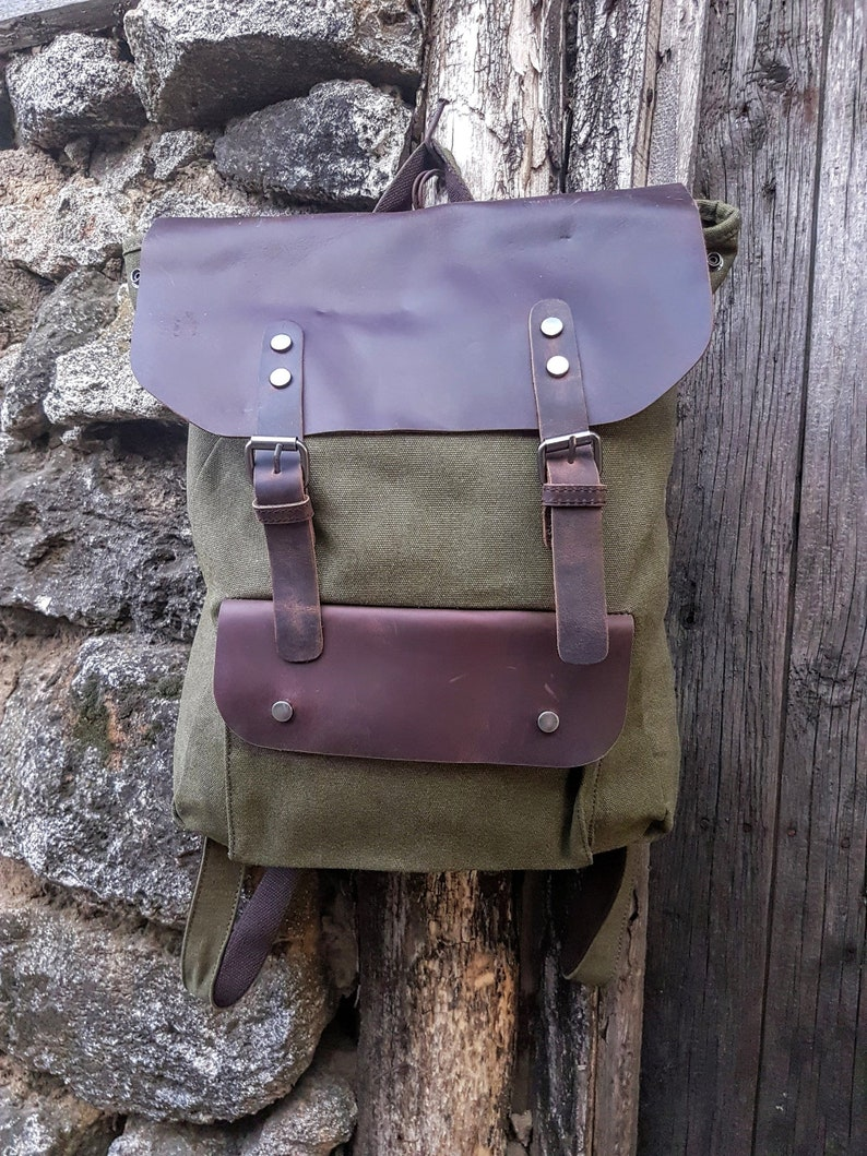 Canvas Backpack Leather Book Bag Leather Rucksack Laptop Backpack Canvas Rucksack Leather Backpack