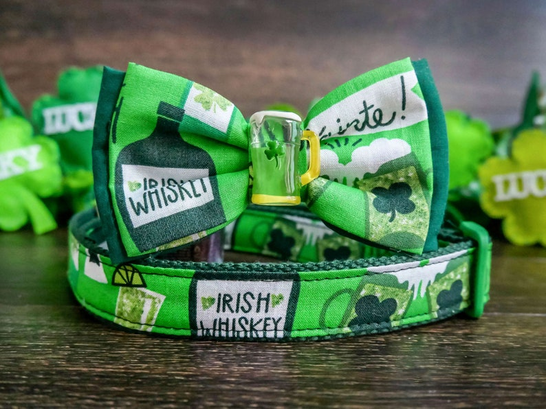 St Patrick/'s day dog collar with bow tie medium large dog collar Green irish beer dog collar small puppy collar holiday dog collar