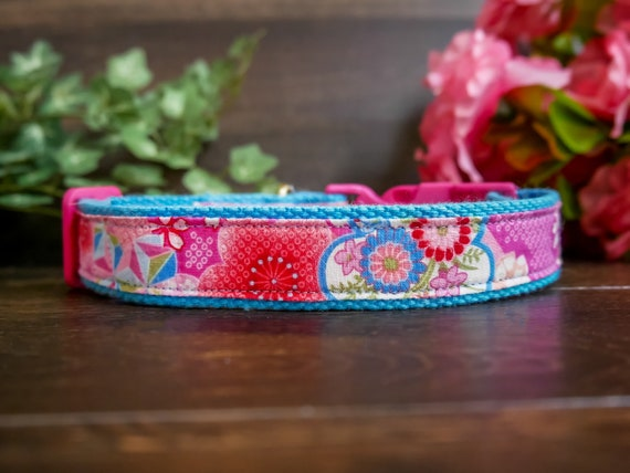Pink Floral Dog Collar Girl Dog Collar Accessory Cotton Etsy
