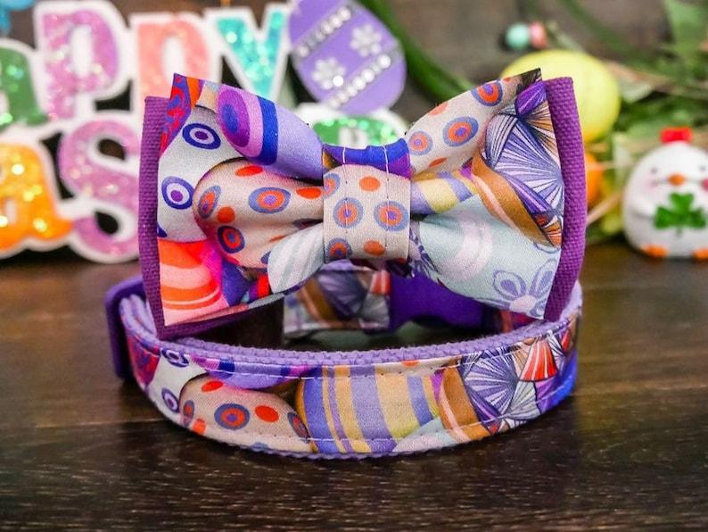 Easter eggs dog collar bow tie boy purple dog collar small large dog collar cute girl dog collar designer holiday collar fabric collar