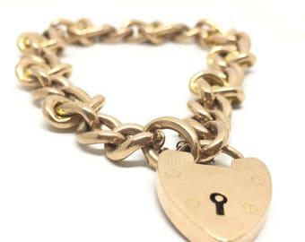 Antique vintage 15ct Rose & Yellow Gold Bracelet   15ct Padlock Charm Bracelet   Hallmarked 1909   8 inches