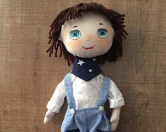 Handmade Doll, For Boys, Nursery Decor, Cloth Doll, Tilda Doll, Decorative Doll, Boy Toys, Fabric Doll, Child Room Decoration, Rag Doll,