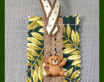 Bookmarks - stocking stuffers -Gift Bookmark - Children's Bookmark  - Handmade - Bookworm Gift - Fabric - Teddy Bear Bookmark