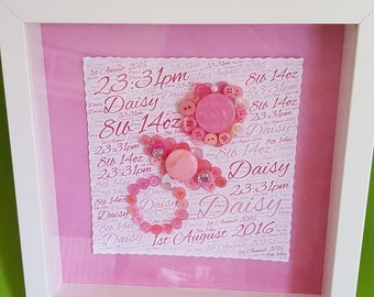 Personalised New Baby Button Art