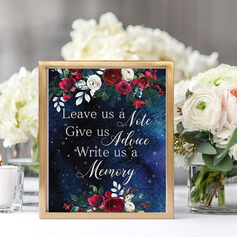 Leave us a note Wedding Sign Christmas Winter New Year Snow White Red  Burgundy Floral Wedding Printable Decor Gifts Poster Sign 8x10 WS-050
