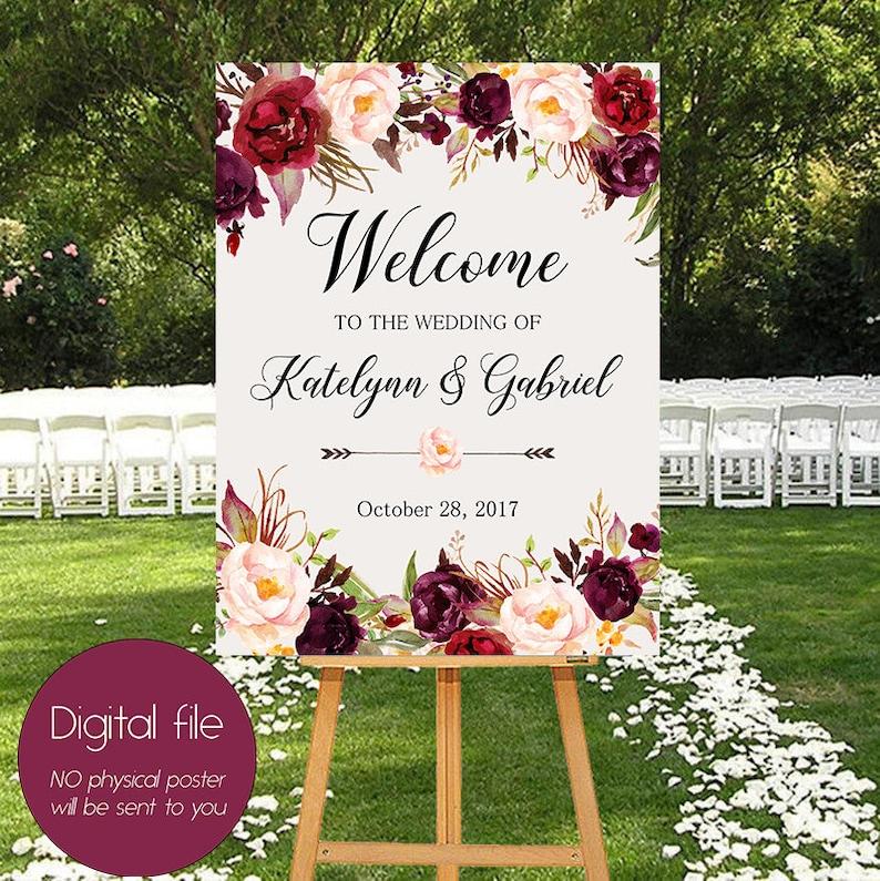 Welcome Wedding SignWedding decorationBurgundy image 0