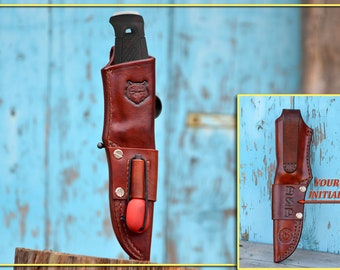 CUSTOM HANDMADE Leather Sheath For Mora GARBERG & Kansbol. With Removable Firesteel Loop. Left Or Right Handed. With Your Initials.