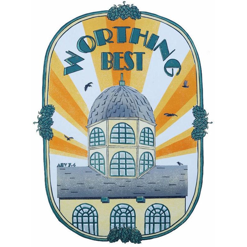 Worthing Best, Dome Cinema, Linocut, Original Linoprint, Hand Printed,  Gift, art, seaside, sun, sunny, holiday, limited edition, pump clip