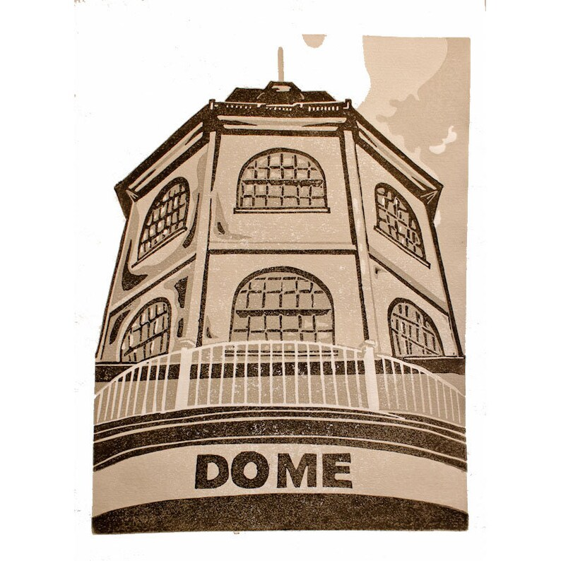 Worthing Dome Cinema, Linocut, Original Linoprint, Hand Printed, Gift, art,  seaside, sun, sunny, holiday, A4, limited edition