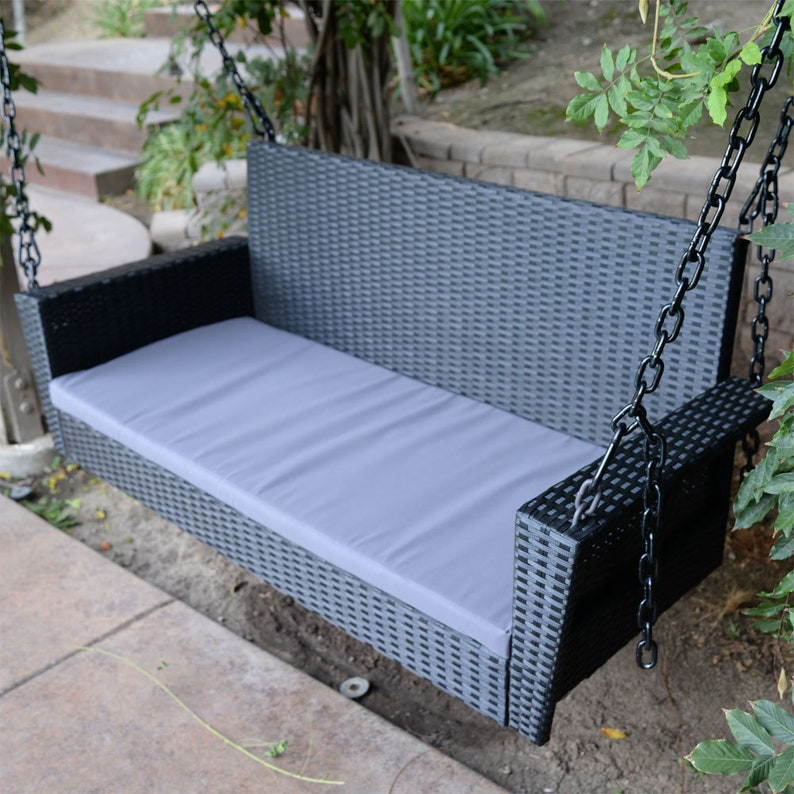 Swell Black 54 5 Patio Porch Swing Chair Bench Resin Wicker Tree Ceiling Hanger Hanging W Chains Pdpeps Interior Chair Design Pdpepsorg
